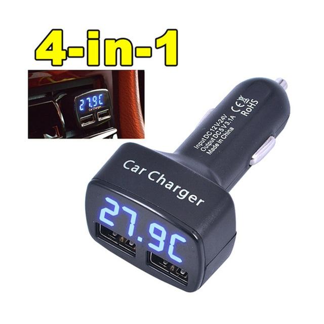 הכי חדש מטען לרכב כפול DC5V 3.1A USB עם מתח/טמפרטורה/הנוכחי Meter Tester מתאם תצוגה דיגיטלית