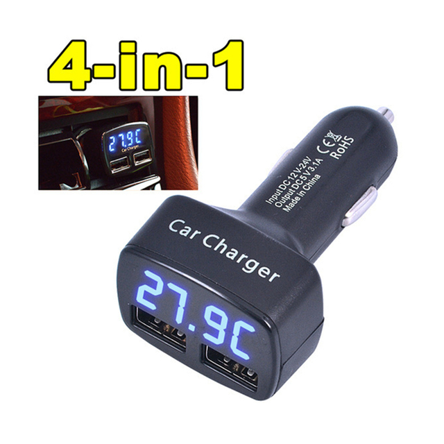 Newest Car Charger Dual DC5V 3.1A USB With Voltage/Temperature/Current Meter Tester Adapter Digital Display