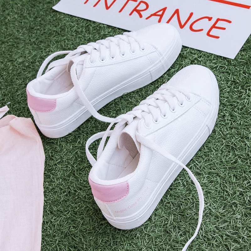 2018 new womens shoes spring fashion white sneakers women leather women vulcanized shoes high quality breathable solid color ...