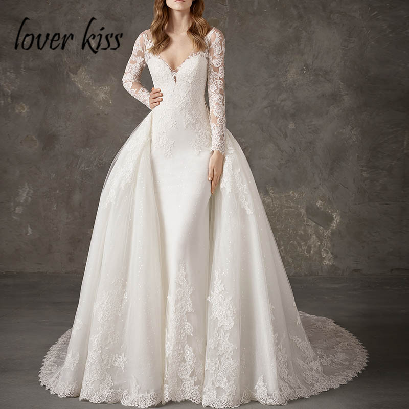 Lover Kiss Vestido De Noiva Shiny 2 in 1 Wedding Dress Long Sleeve Mermaid Wedding Dresses