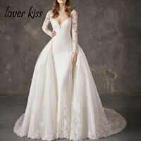 Lover Kiss Vestido De Noiva Shiny 2 in 1 Wedding Dress Long Sleeve Mermaid Wedding Dresses with Detachable Train Illusion Back
