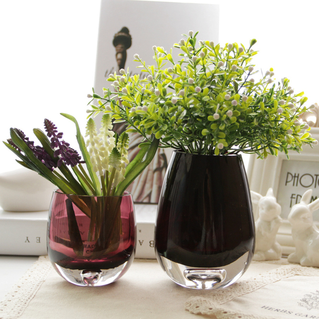 Oval Shape Colorful Glass Vases Flower Pot Home Decoration Tempered