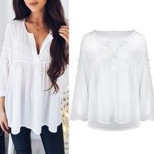 2018 Suumer Blusas Women White Pearls Beading Blouse Long Sleeve Loose  Chiffon Tops V Neck Sweet Lady Female Shirt b239c0ab59d5