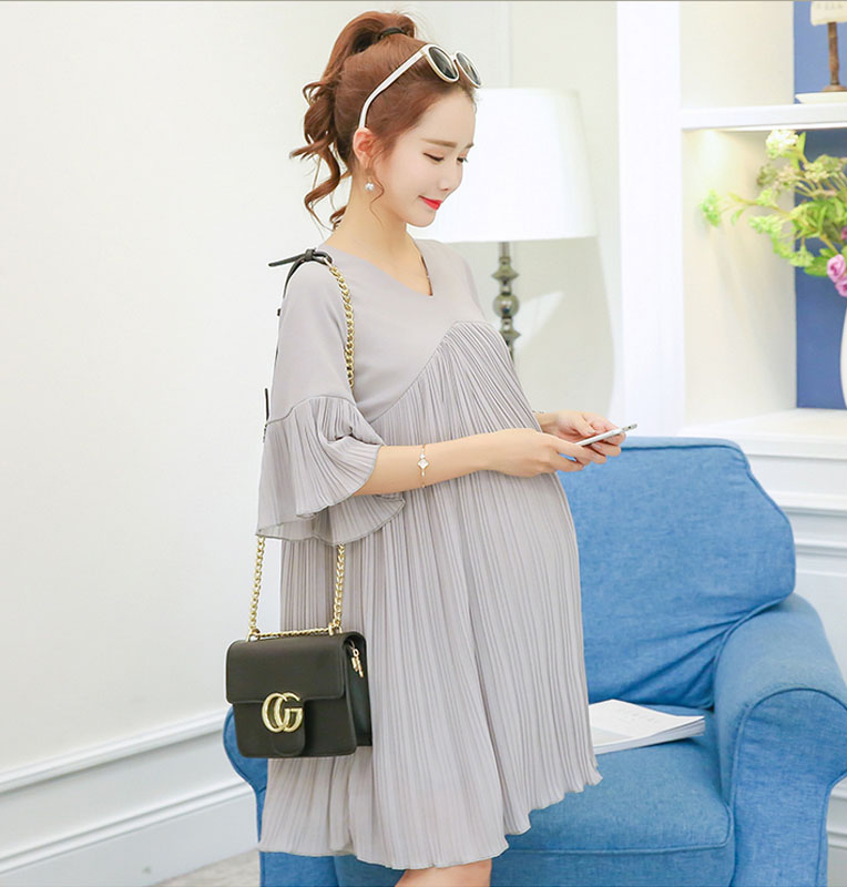 New Maternity Dress V-Neck Chiffon Dress Cloth for Pregnant Women Fashion Loose Long Pregnancy T-shirt Pleated A Line Dress