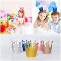 12 unids/lote Hijo Adulto Tapón Corona Del Partido Suministros Fiesta de Cumpleaños Del Bebé Ducha Sombrero Príncipes De Plástico Brillante