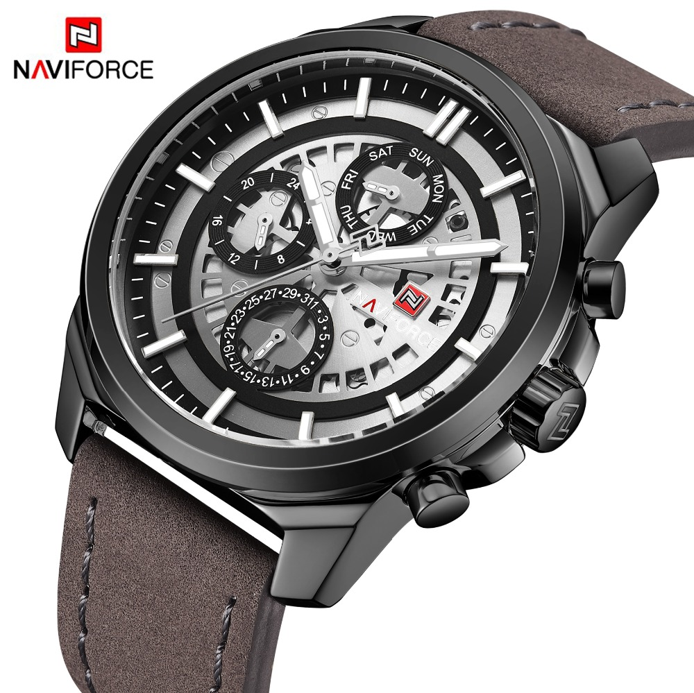 Men Watches NAVIFORCE Top Brand Men Casual Leather Date Quartz Watch Men's Week Army Military Sport Wristwatch Relogio Masculino eyki top brand watches men japan movement quartz watch date week leather sports military watch waterproof relogio masculino 2018