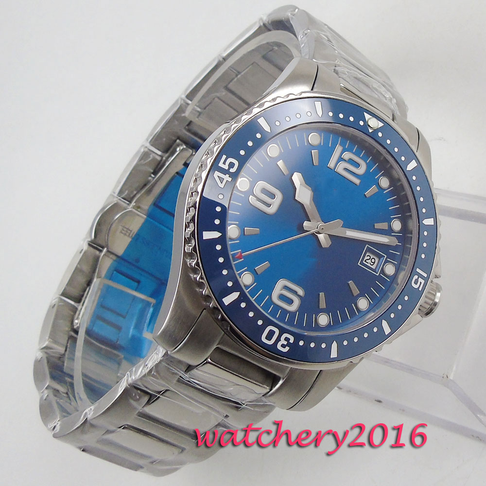 Top Brand Luxury Bliger 2019 Fashion Automatic Men Watches Casual Date Business Blue Sterile Dial Wristwatches