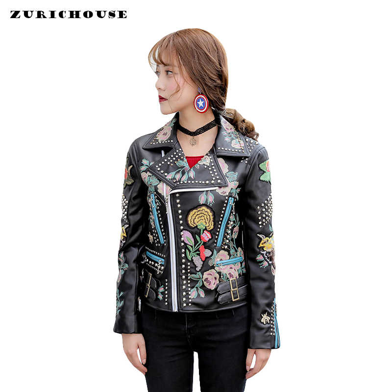2019 Spring Biker Jacket Women Fashion Embroidery Rivet Faux Leather Motorcycle PU Coats Slim Short Women's Leather Jacket
