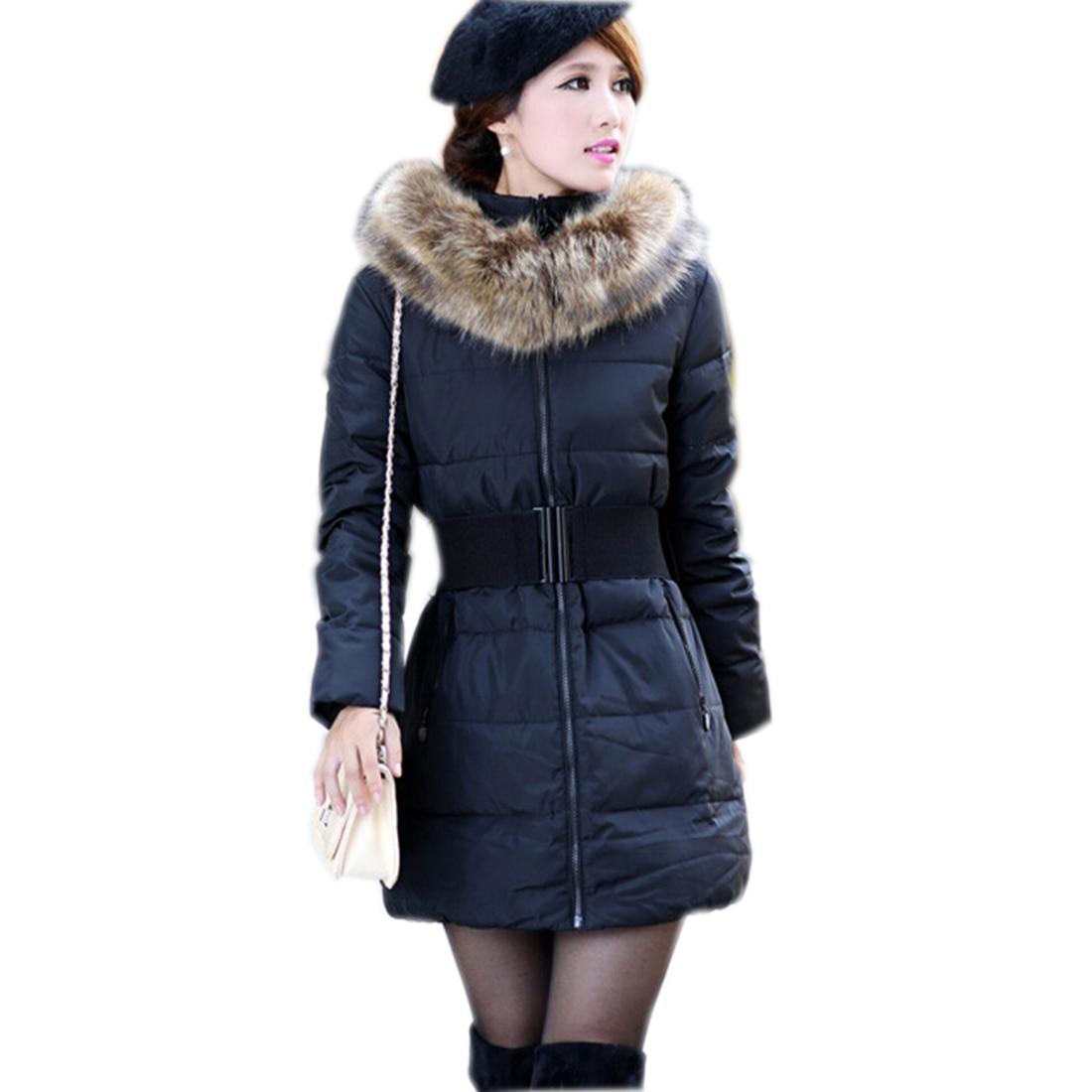 ФОТО Belted Parka Women Winter Jackets Hooded Female Faux Fur Padded warm Coats 2017 Solid Elegant Office Outwear Blue Padded Jackets