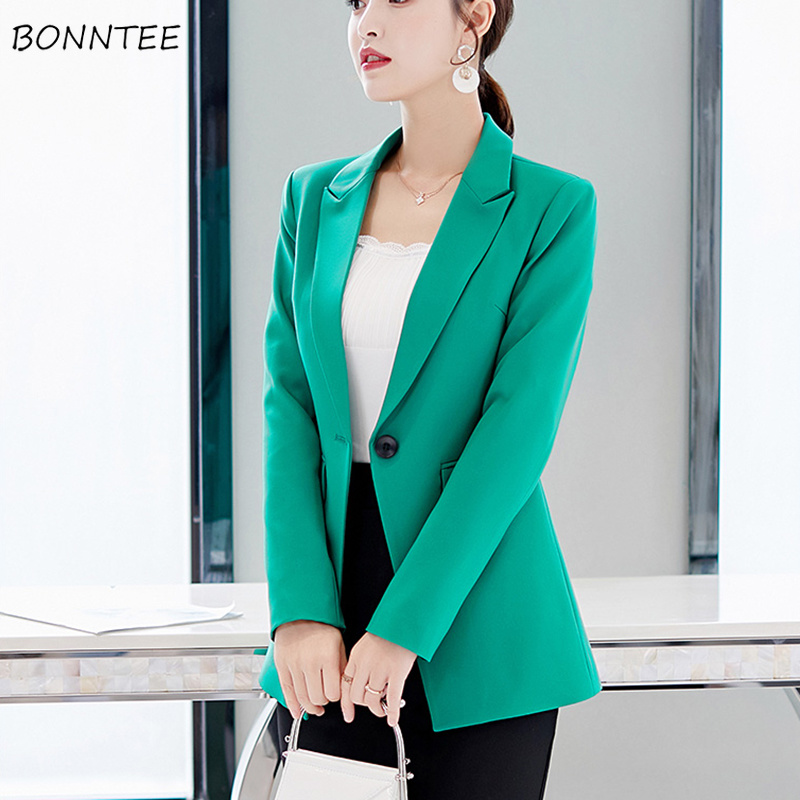 Blazers Women Office Lady Single Button Slim Solid Simple All-match Korean Style Leisure Blazer Womens Elegant Ladies Trendy