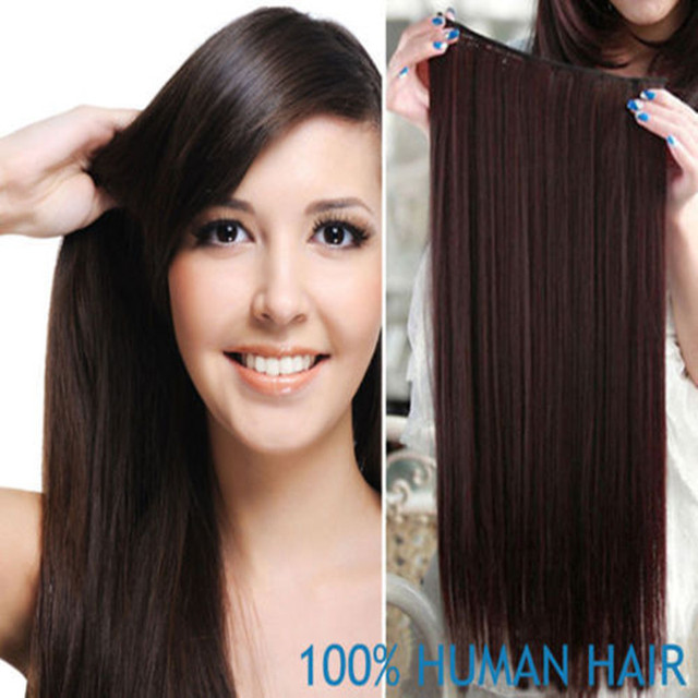 "18"" Full Head One Piece Sets Real Natural Hair Clip In Hair Extensions, 75 Grams Straight Lace Base Clip In, Free Shipping"