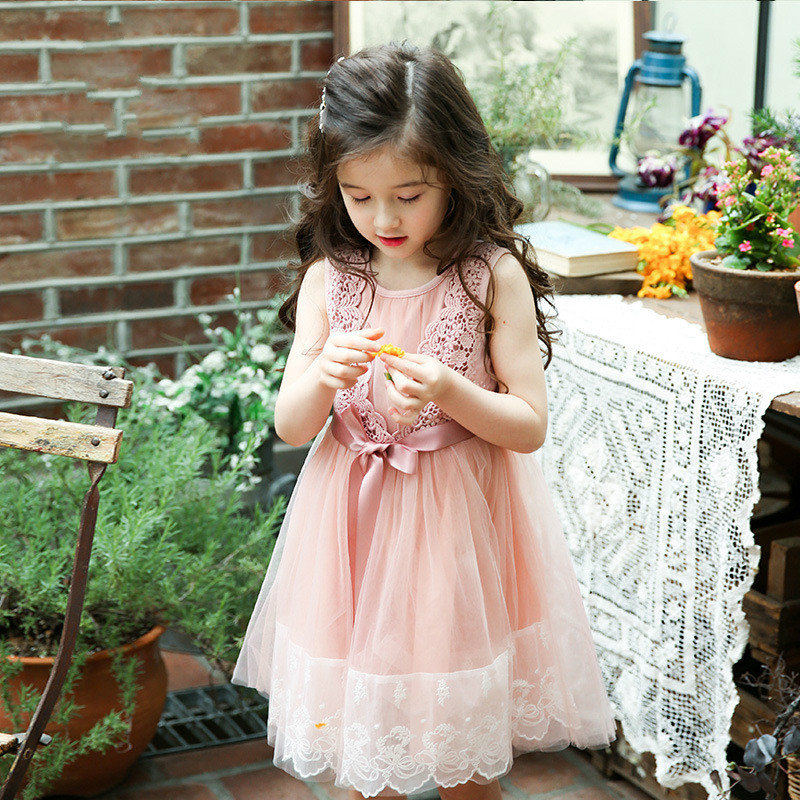 2017 New Girls Cute Dress Fashion Lace Baby Sundress Children Summer Dress Very Beautiful Kids Princess Dress,3-10Y h16 2013 hot baby summer new design stylish and elegant multi layered lace roses very beautiful girl in evening dress