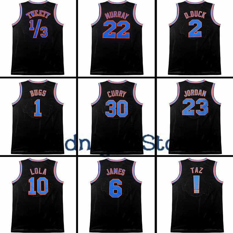 Space Jam Shirt Tune Squad 22 Murray 1 Bugs ! TAZ 10 Lola 2 D.DUCK 1/3 Tweety Stitched Men Movie Basketball Jersey Free Shipping 33 larry bird indiana state jersey sycamores college basketball jersey all stitched men basketball shirt s 3xl