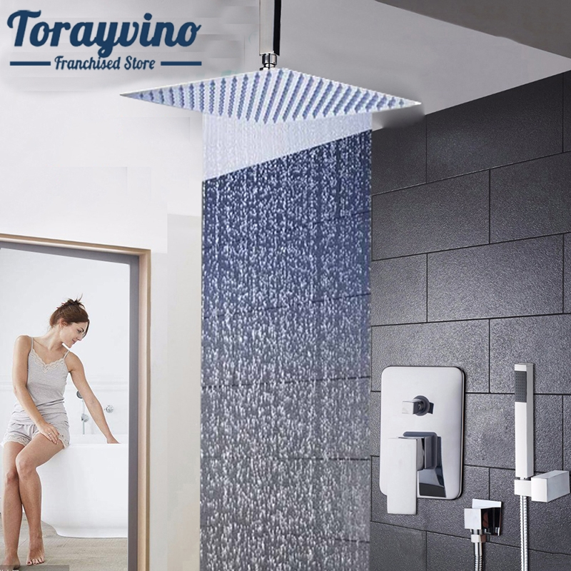 Torayvino Bathroom shower set LED Ceiling Wall Mount Rainfall 8 10 12 16 Inch Shower Head Set With Control Valve Hand Sprayer torayvino bathroom ceiling mount 12 ultra thin rainfall shower head