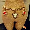 De moda del club nocturno del corazón de los colgantes cinturones para mujer dulce linda amor gema tallada cinturón cadena de la cintura decoración cristal personalizado