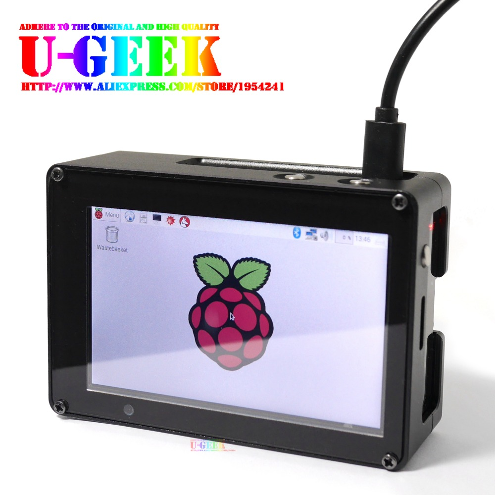 UGEEK Raspberry Pi High PPI 3.5 inch 800*480 TFT Screen + Aluminum Alloy CNC case Kit For Raspberry Pi 3B 2B B+|Support IR|Kali high quality protective aluminum alloy case enclosure box for raspberry pi model b silver