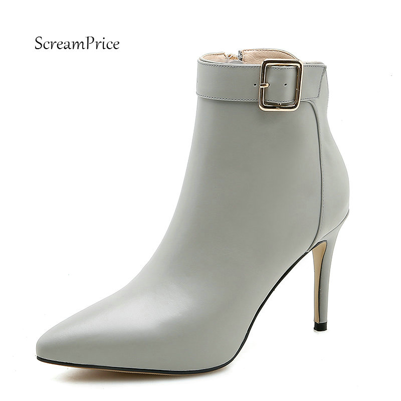 Female Genuine Leather Buckle Thin High Heel Ankle Boots Fashion Zipper Pointed Toe Women Fall Winter Bootie Black Beige Gray цена