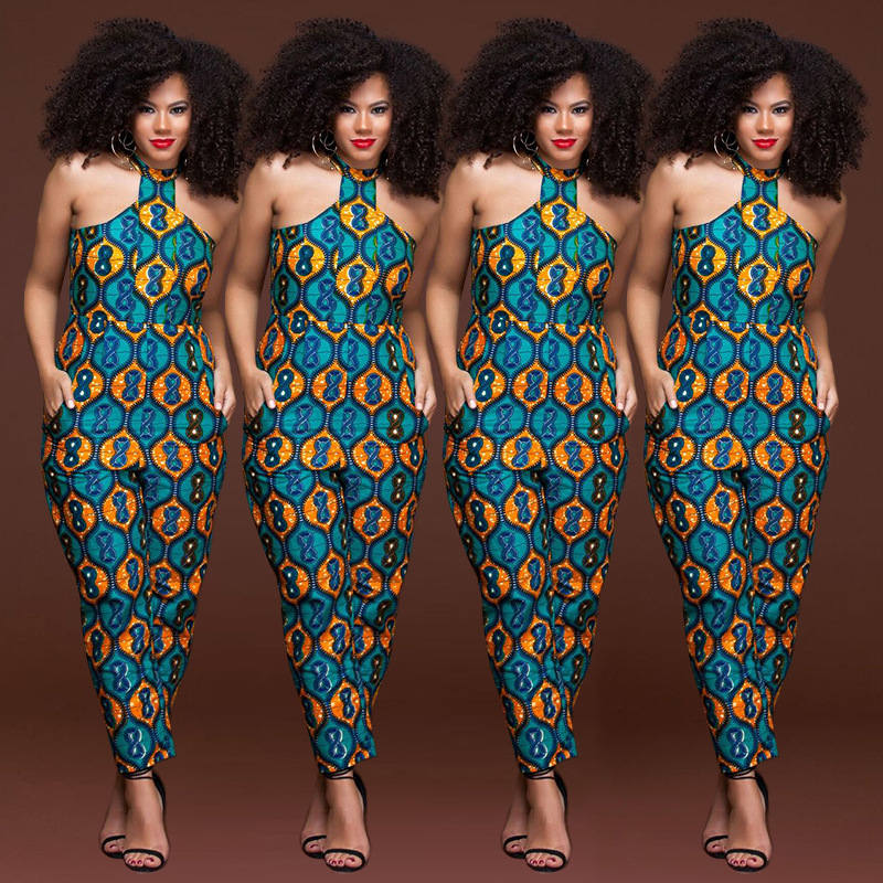 Plus size sleeveless strappy Dashiki African Print   jumpsuit   women romper 2018 summer halter sexy off shoulder long pant outfits