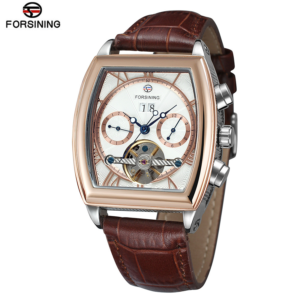 Luxurious Quality Men's Watches Day Date Tourbillon Mechanical Watch Mens Square Automatic Wrist Watch Rectangle Wristwatches-in Mechanical Watches from Watches    1