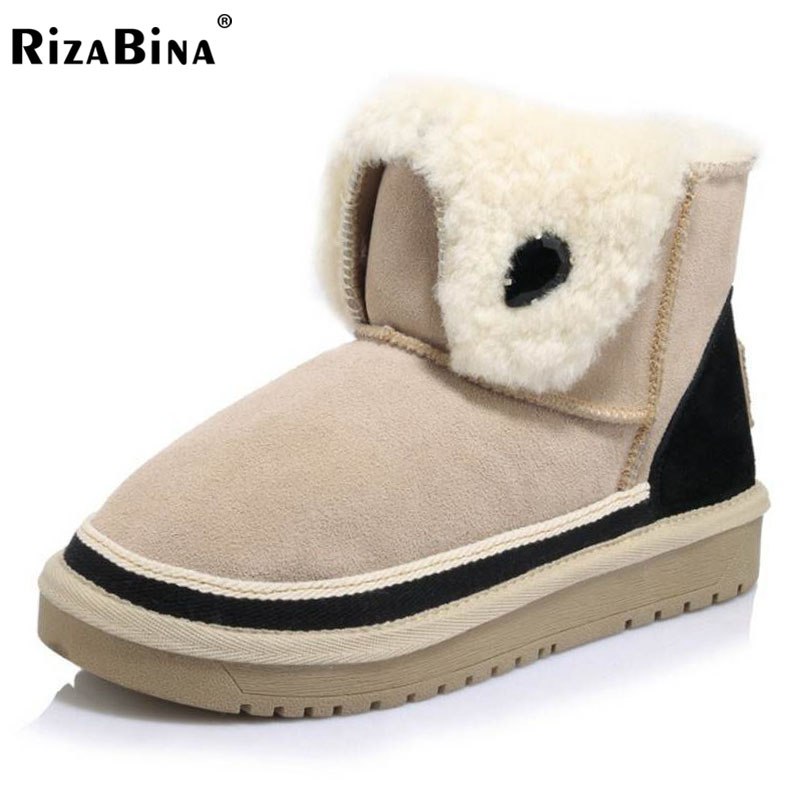 RizaBina Women Real Leather Thick Fur Inside Ankle Snow Boots Women Thick Platform Flat Botas Cold Winter Shoes Size 34-39 rizabina cold winter snow shoes women real leather warm fur inside ankle boots women thick platform warm winter botas size 34 39