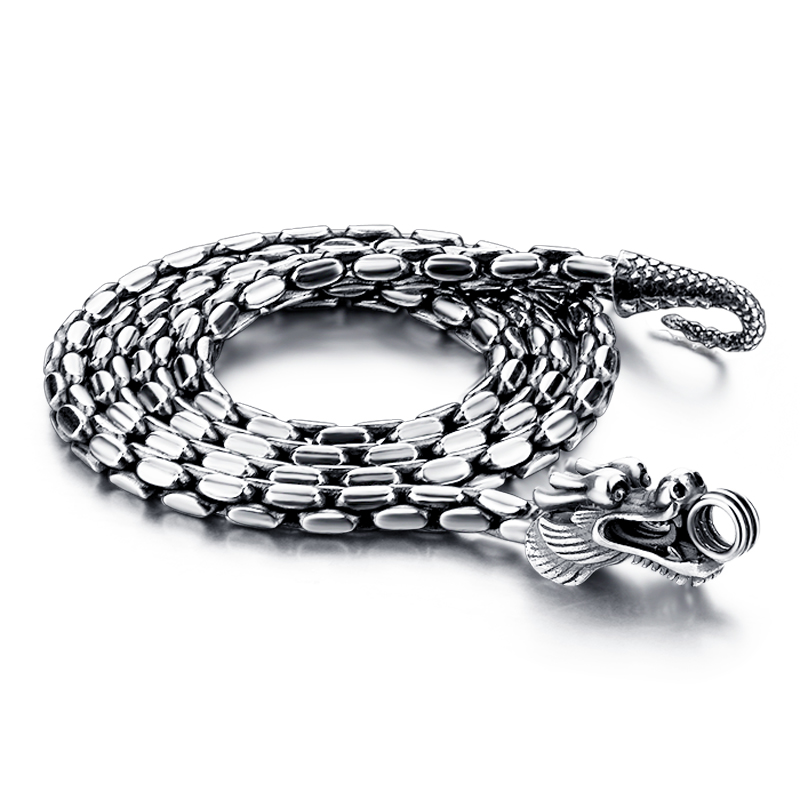 Fashion solid 925 sterling silver necklace pendant for men Retro Thai silver 5 mm61cm dragon necklace ..Male silver jewellery