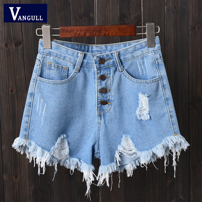 Vangull Plus Size 6xl Summer Denim Shorts Women High Waist Hole Shorts Solid Tassel Buttons Fashion 2019 New Casual Short Jeans