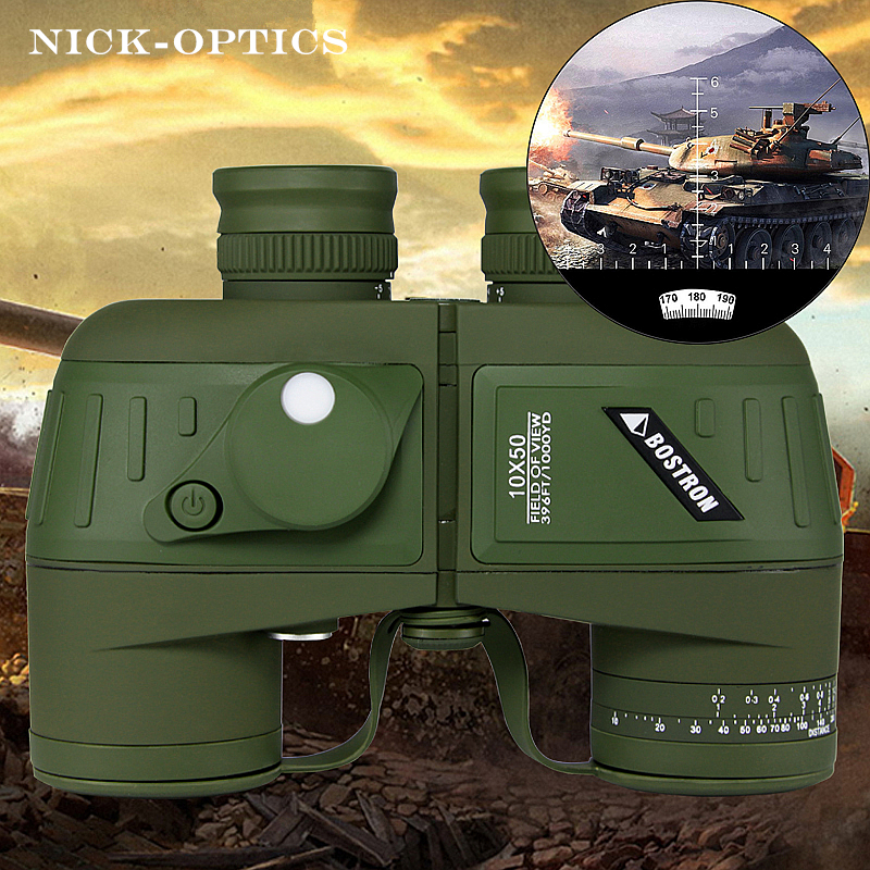Germany Military binoculars Professional Waterproof Marine binocular High quality with Rangefinder and Compass Eyepiece focus 10x50 outdoor military binocular army green marine prismatic binoculars hot sale