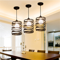 YZF E27 Nordic Fashion Iron Meal Pendant Lamp Personalized Creative Spring Pendant Light For Restaurant Coffee