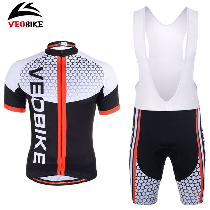 VEOBIKE Ropa Ciclismo Bicycle Jersey Short Sleeve Jersey + Gel Padded Bib Quick-dry Men Pro Riding Team MTB Bike Cycling Jersey nuckily nj513 cycling polyester short sleeve riding jersey for men black white size l