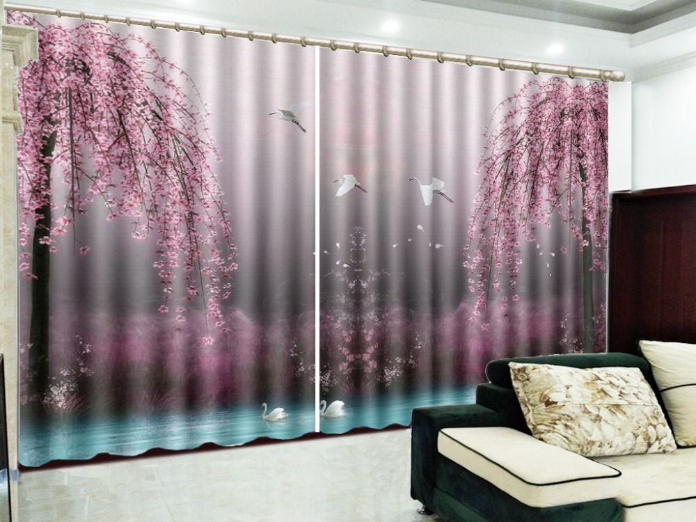 US $48.0 52% OFF|Fantasy Swan Lake Pink Flowers Tree 3D Landscape Curtains  Living Room Bedroom Beautiful Practical Blackout Curtain-in Curtains from  ...