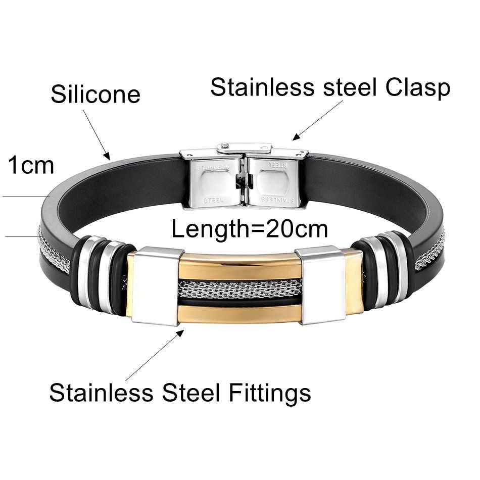 Kühlen männer Gesundheit Armband Edelstahl Silikon Armbänder mit Kette Männer Zubehör Schmuck Gummi Armband