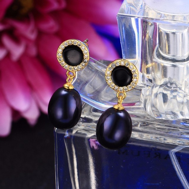 Black Pearl Zircon Earrings