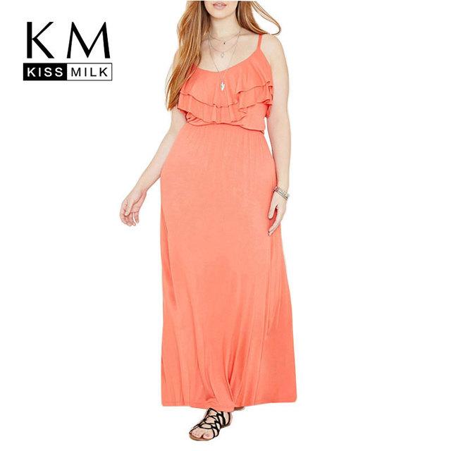Kissmilk Tamaño Del Verano Nuevas Mujeres de La Moda Maxi Largo Atractivo BOHO Del Partido de Tarde Del vestido de Volantes de Tamaño Grande 3XL 4XL 5XL 6XL