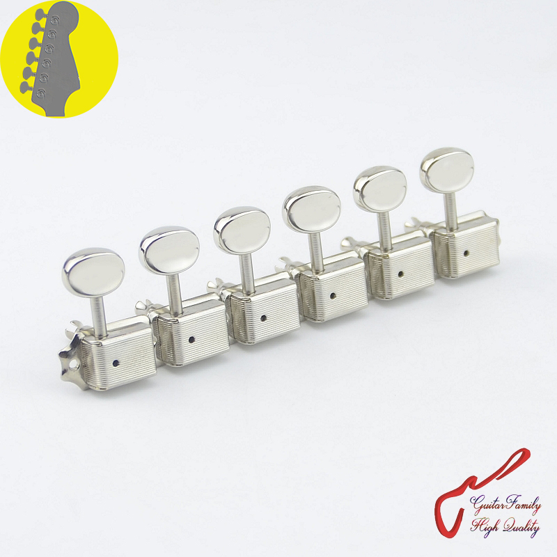 1 Set GuitarFamily  6 In-line  Kluson Vintage  Guitar Machine Heads Tuners  ( Nickel )  MADE IN KOREA