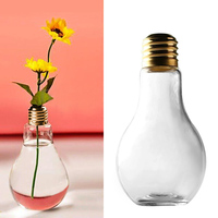400ml Light Bulb Glass Beverage Tea Water Drink Bottle Jug With Plastic Sealing Cap For Home