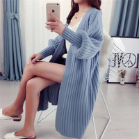 2019 One Size Knit Maxi Cardigan Sweater Women Casual Open Front Loose Cardigan Ladies Fall Winter Stitching Pure Long Sweater