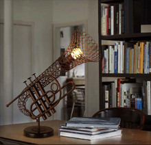 FUMAT Creative Saxophone Desk Lamps Iron Table Lamp Brownness Desk Lamp Drawing Room Bedroom Loft Saxophone Desk Light(China)