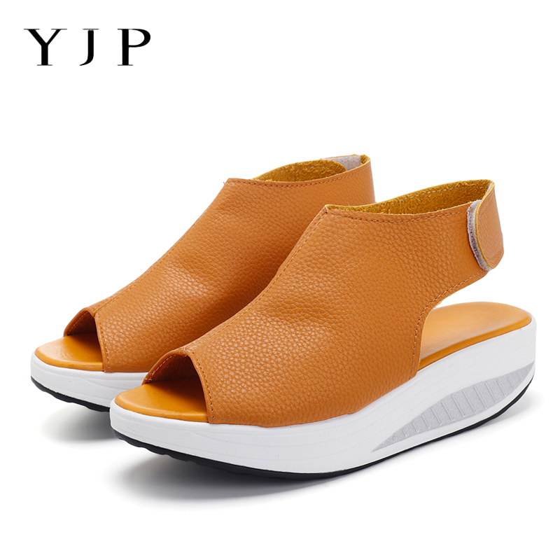 0adb22eed2bd Aliexpress.com   Buy YJP Platform Sandals Women Shoes PU Leather Summer  Shook His Shoes Flat Mid Heels Casual Ladies Shoe Hook Loop Sandals Plus  Size from ...