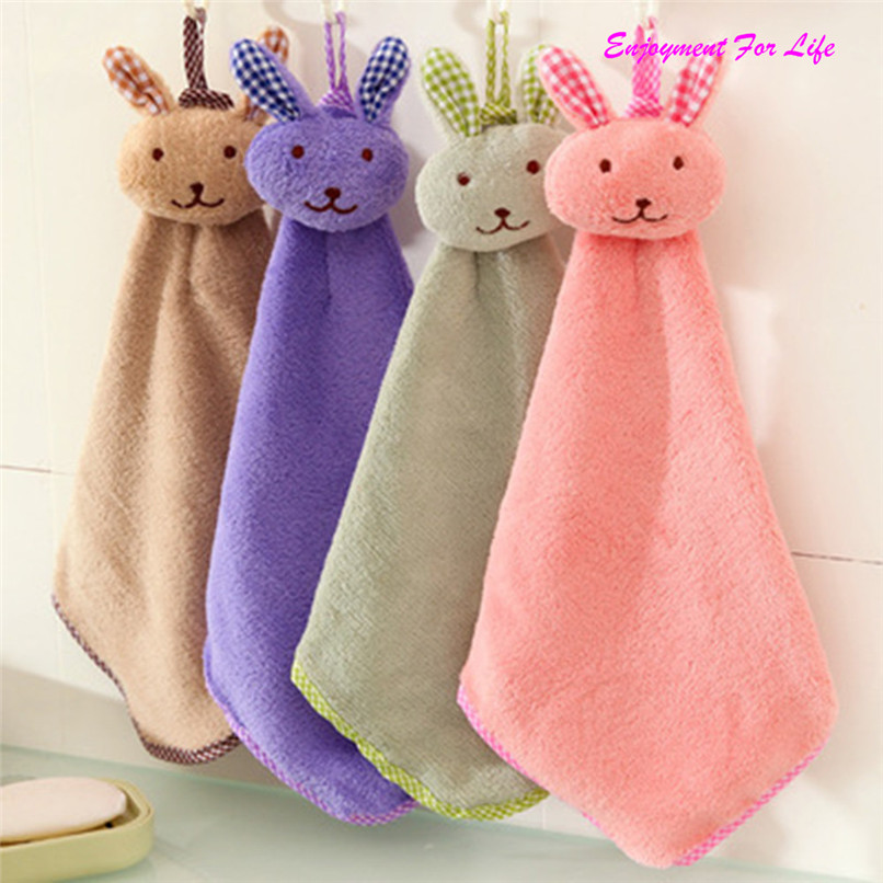 TANGNADE Baby Hand Towel Cartoon Animal Rabbit Plush Kitchen Soft Hanging Bath Wipe Towel Wholesale Free Shipping 3RC12