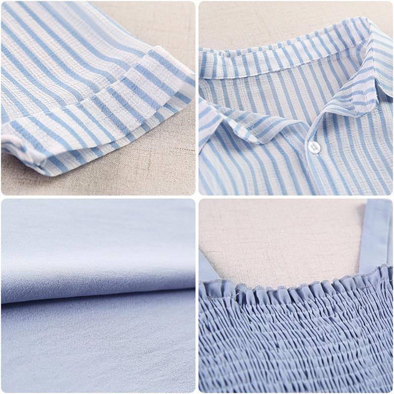 women summer dresses pullover sleeveless loose Knee-Length dresses 2019 Summer style Slash neck stripe two-piece dresses 6