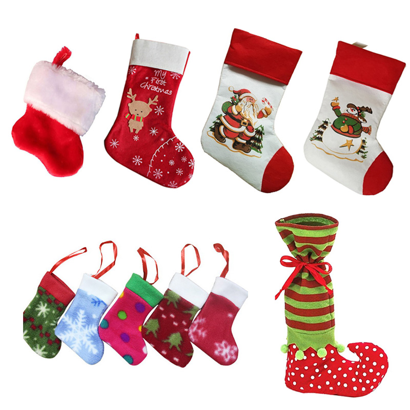 Santa Claus Sock Gift Kids Candy Bag Xmas Noel Decoration for Home Christmas Tree Ornaments new year Christmas Stockings
