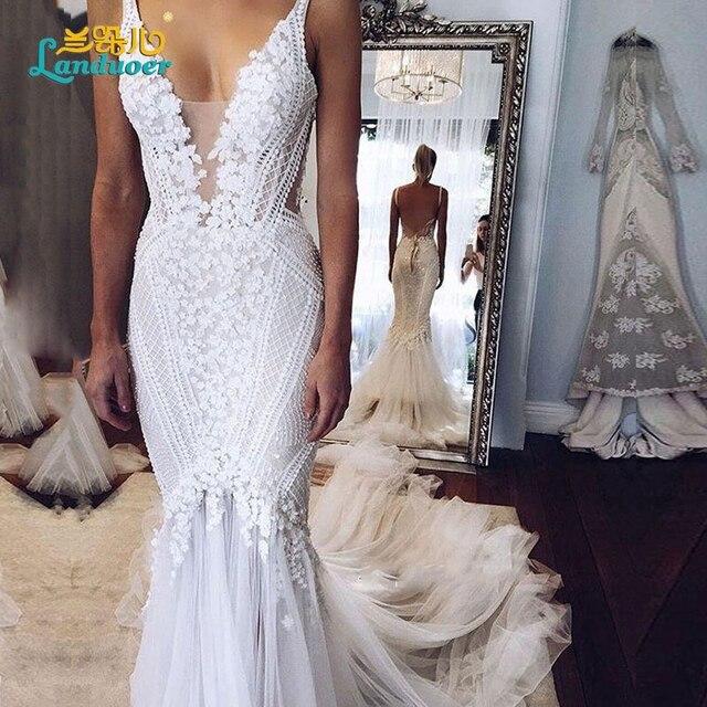 Lace Mermaid Wedding Gown With Straps: Boho Wedding Dresses 2017 Mermaid Lace Spaghetti Straps