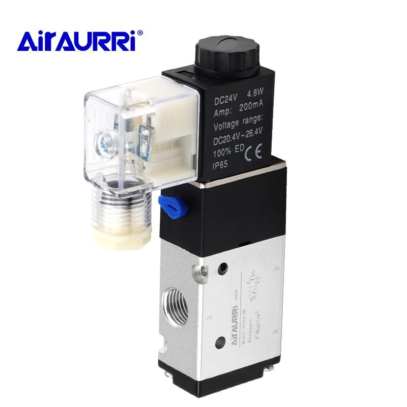 Pneumatic Air Solenoid Valve Electric Control Gas Magnetic 3V210-08 3 Way Port 2 Position 12V 24V 220V