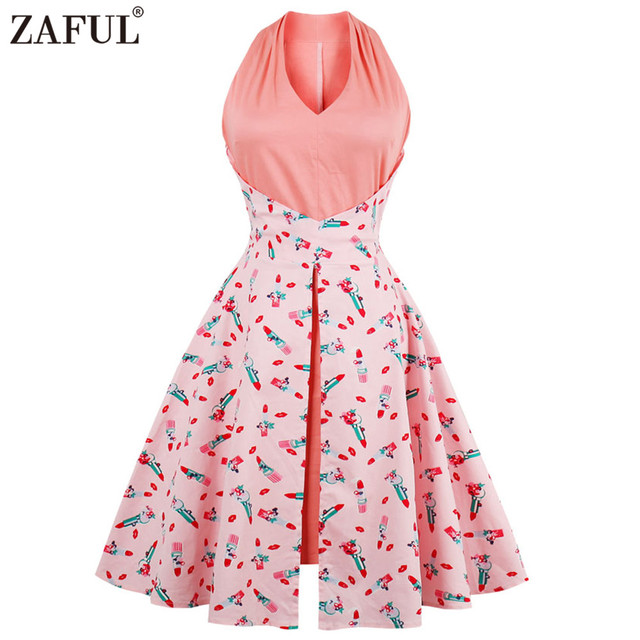 267761e26bc38 US $35.99 |ZAFUL Women 60s Vintage Summer Dress Sweety Floral Print Swing  Rockabilly Dress Plus Size S~4XL Cotton Dress Feminino Vestidos-in Dresses  ...