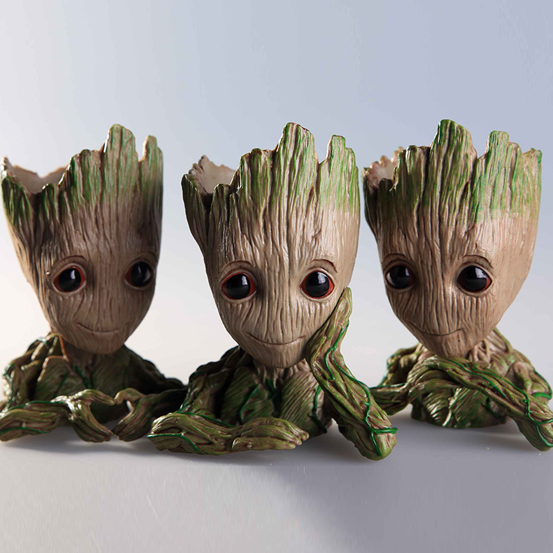 14CM baby tree man Guardians Of The Galaxy Flowerpot Action Figures Cute Model Toy Pen Pot Best Christmas Gifts Kids Hobbies