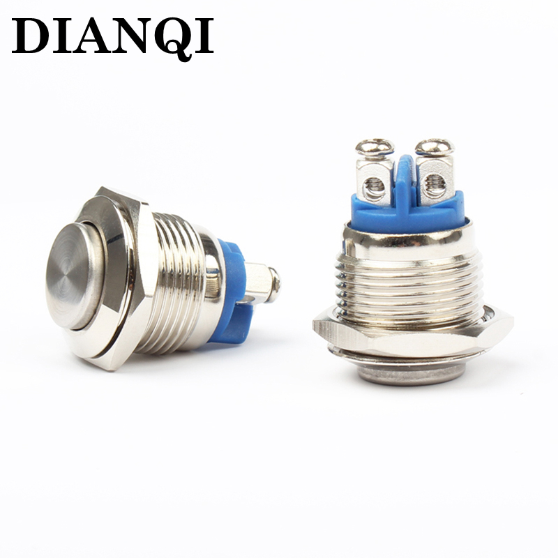 16mm metal push button waterproof nickel plated brass button switch press button reset 1NO  high round momentary 16GTP,F.KBL