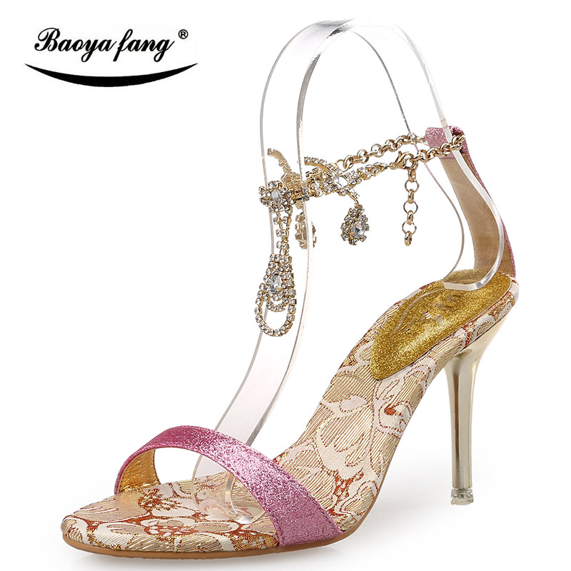 Fashion women's shoes banquet sexy bridal shoes sandals rhinestone thin heels high-heeled PUMPS wedding shoes gold