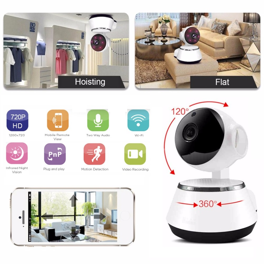 LESHP Home Security Monitor IP Camera HD Wireless WiFi Camera Surveillance IR Night Vision Baby Monitor With Mic Support TF Card