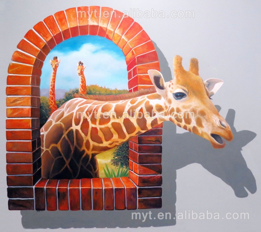 Wall Paintings For Sale Us 167 35 29 Off Hot Sale Deer Animal 3d Wall Painting Handpainted Oil Painting On Canvas Wall Picture Home Decoration No Framed Canvas Art In