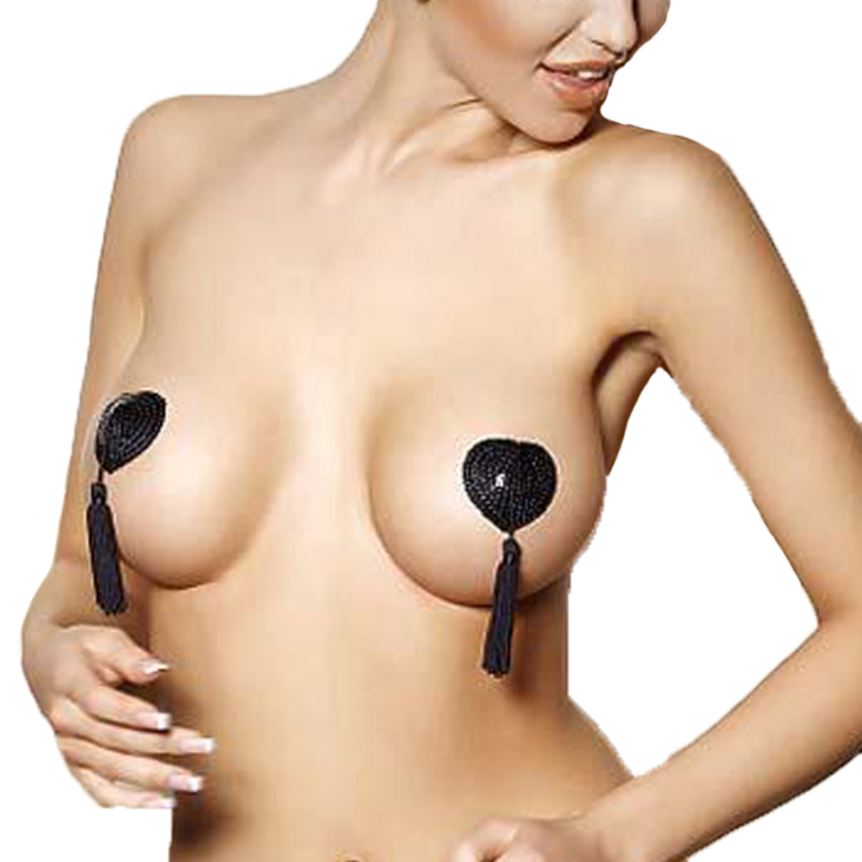Sexy Self Adhesive Tassel Nipple Cover Heart Shape Bra Pasties Breast Invisible Tape Ladies Bra Accessories 2pcs/set